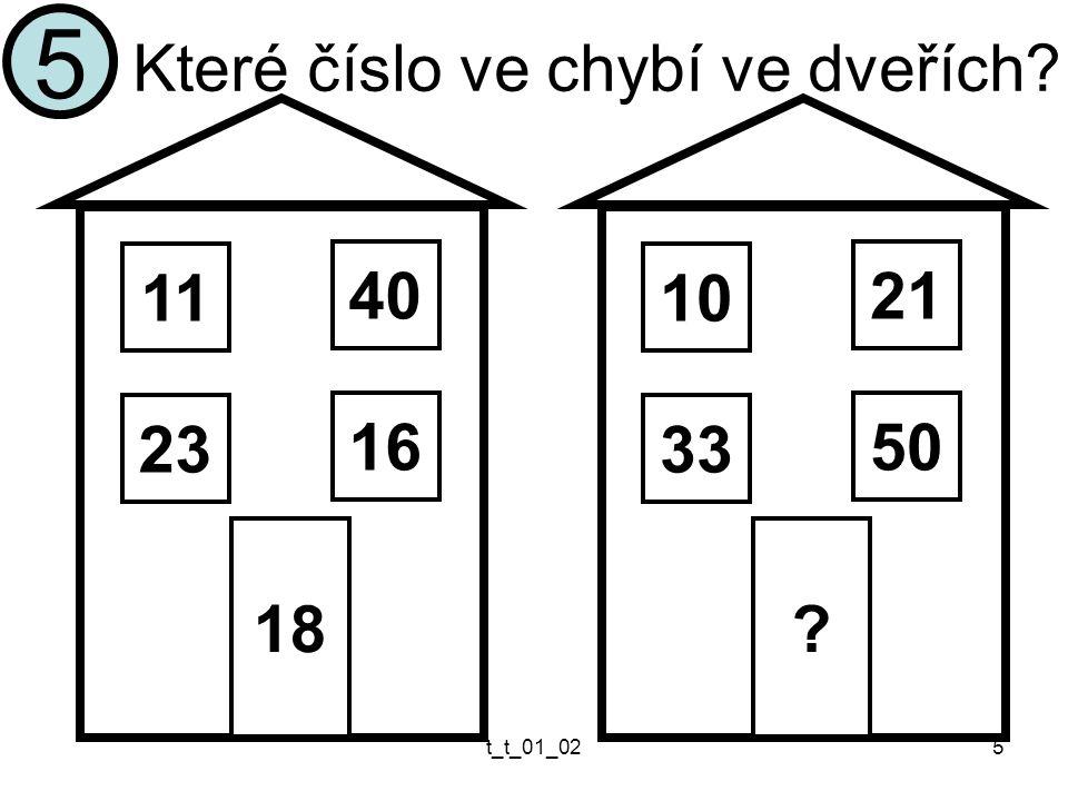 t_t_01_025 Které číslo ve chybí ve dveřích? 5 11 23 18 40 16 10 33 ? 21 50