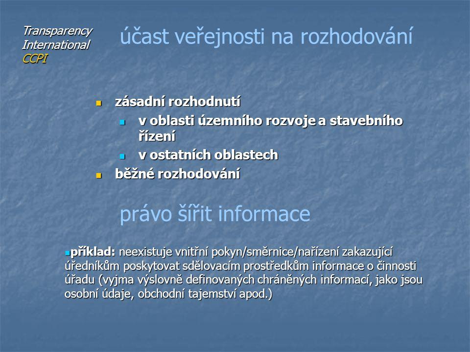 zásadní rozhodnutí zásadní rozhodnutí v oblasti územního rozvoje a stavebního řízení v oblasti územního rozvoje a stavebního řízení v ostatních oblastech v ostatních oblastech běžné rozhodování běžné rozhodování účast veřejnosti na rozhodování právo šířit informace příklad: neexistuje vnitřní pokyn/směrnice/nařízení zakazující úředníkům poskytovat sdělovacím prostředkům informace o činnosti úřadu (vyjma výslovně definovaných chráněných informací, jako jsou osobní údaje, obchodní tajemství apod.) příklad: neexistuje vnitřní pokyn/směrnice/nařízení zakazující úředníkům poskytovat sdělovacím prostředkům informace o činnosti úřadu (vyjma výslovně definovaných chráněných informací, jako jsou osobní údaje, obchodní tajemství apod.) Transparency International CCPI
