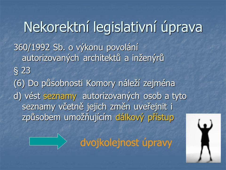 Nekorektní legislativní úprava 360/1992 Sb.