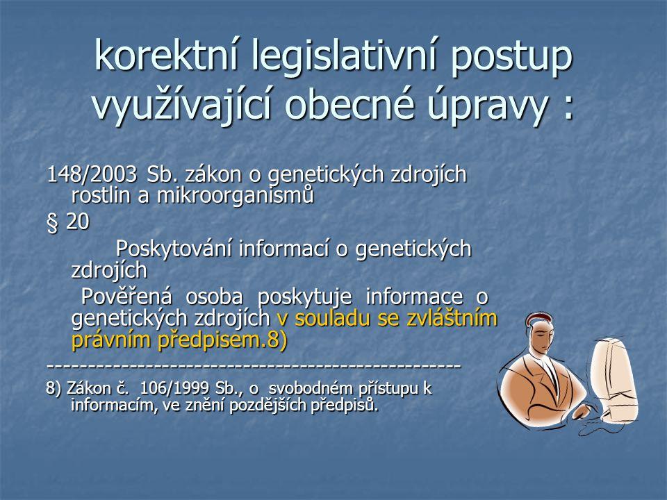 korektní legislativní postup využívající obecné úpravy : 148/2003 Sb.
