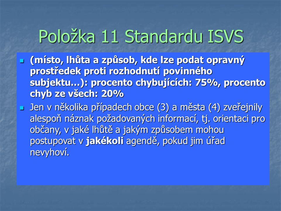 Položka 11 Standardu ISVS (místo, lhůta a způsob, kde lze podat opravný prostředek proti rozhodnutí povinného subjektu…): procento chybujících: 75%, procento chyb ze všech: 20% (místo, lhůta a způsob, kde lze podat opravný prostředek proti rozhodnutí povinného subjektu…): procento chybujících: 75%, procento chyb ze všech: 20% Jen v několika případech obce (3) a města (4) zveřejnily alespoň náznak požadovaných informací, tj.