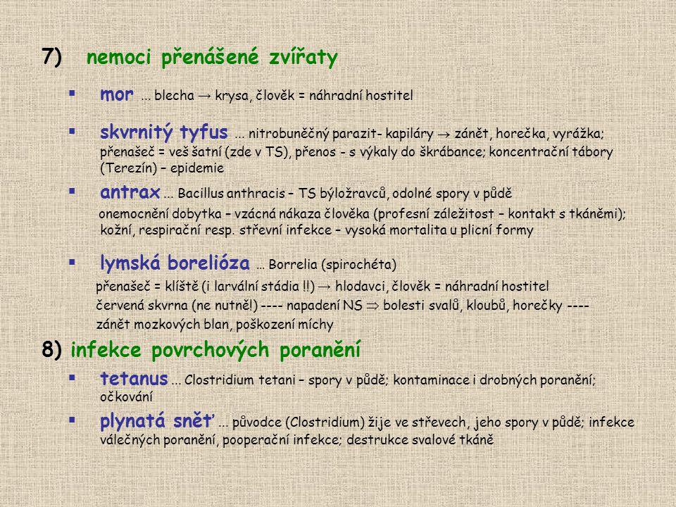 7)nemoci přenášené zvířaty  mor... blecha → krysa, člověk = náhradní hostitel  skvrnitý tyfus... nitrobuněčný parazit- kapiláry  zánět, horečka, vy