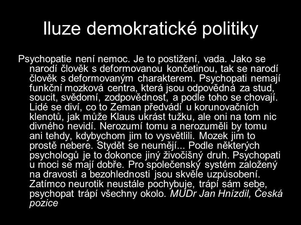 Iluze demokratické politiky Psychopatie není nemoc. Je to postižení, vada. Jako se narodí člověk s deformovanou končetinou, tak se narodí člověk s def