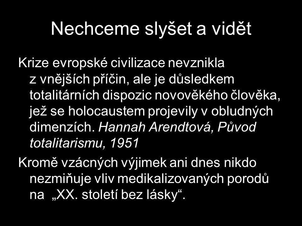 Nechceme slyšet a vidět Krize evropské civilizace nevznikla z vnějších příčin, ale je důsledkem totalitárních dispozic novověkého člověka, jež se holocaustem projevily v obludných dimenzích.