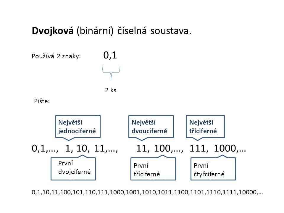 Dvojková (binární) číselná soustava. Používá 2 znaky: 0,1 2 ks Pište: 0,1,…, Největší jednociferné Největší dvoucifernéé Největší třícifernéé První dv