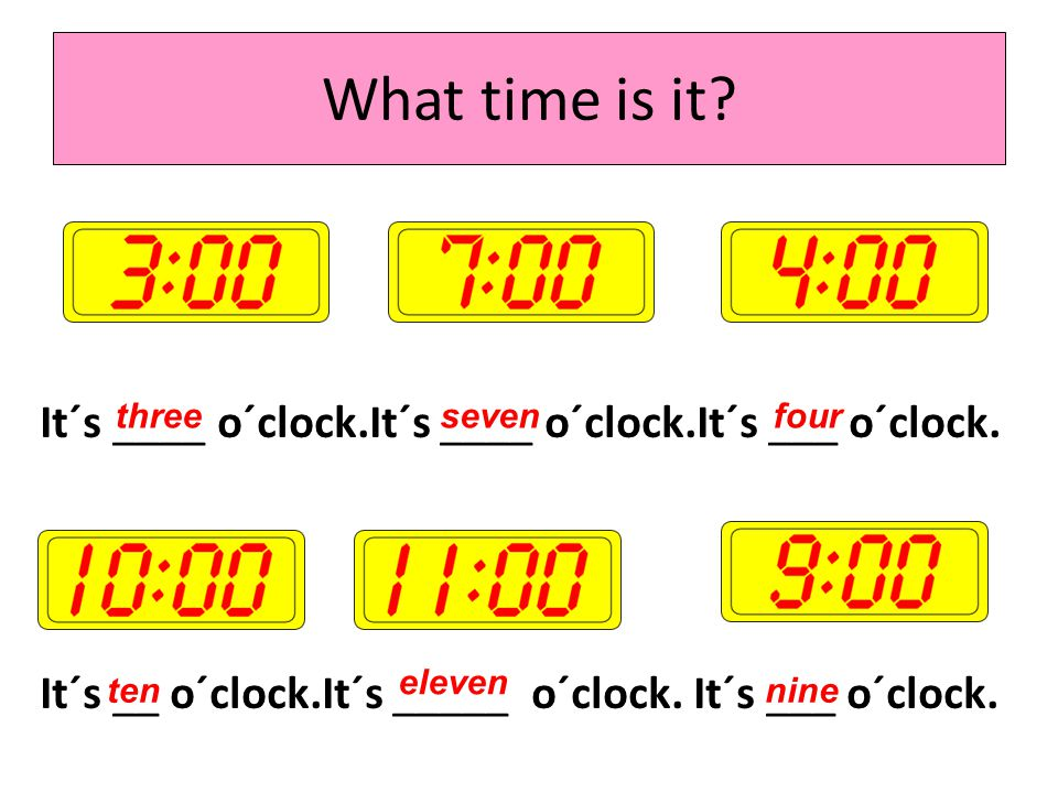 It´s ___o´clock. It´s ___ o´clock. It´s ____ o´clock. It´s ___ o´clock. It´s _____o´clock. It´s___ o´clock. What time is it? one fiveeight two twelve