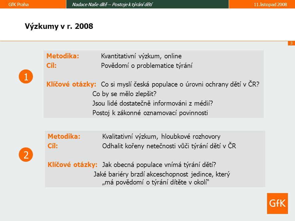 3 GfK PrahaNadace Naše dítě – Postoje k týrání dětí11.listopad 2008 Výzkumy v r.
