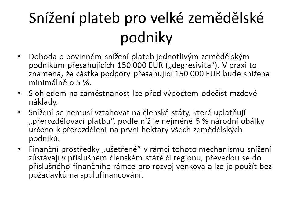 """Snížení plateb pro velké zemědělské podniky Dohoda o povinném snížení plateb jednotlivým zemědělským podnikům přesahujících 150 000 EUR (""""degresivita )."""