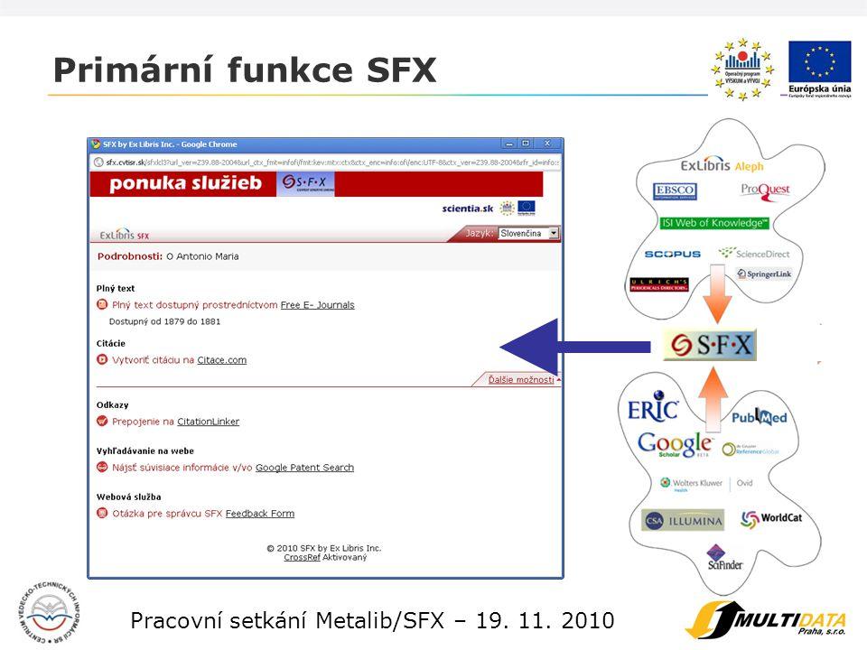 4 Pracovní setkání Metalib/SFX – 19.11.