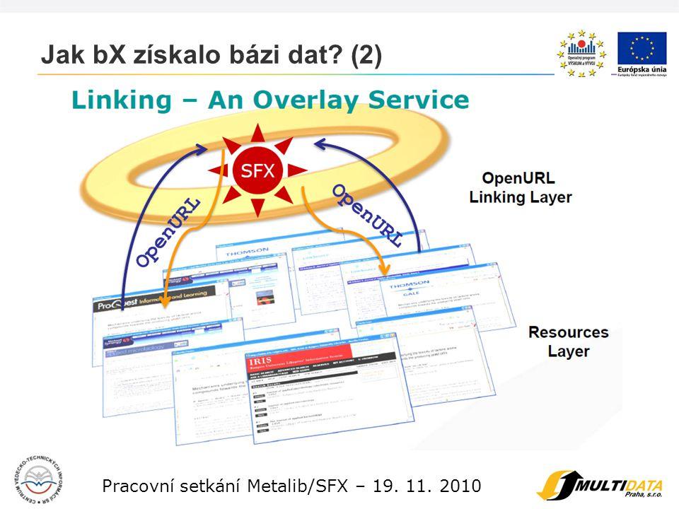 8 Pracovní setkání Metalib/SFX – 19. 11. 2010 Jak bX získalo bázi dat? (3)