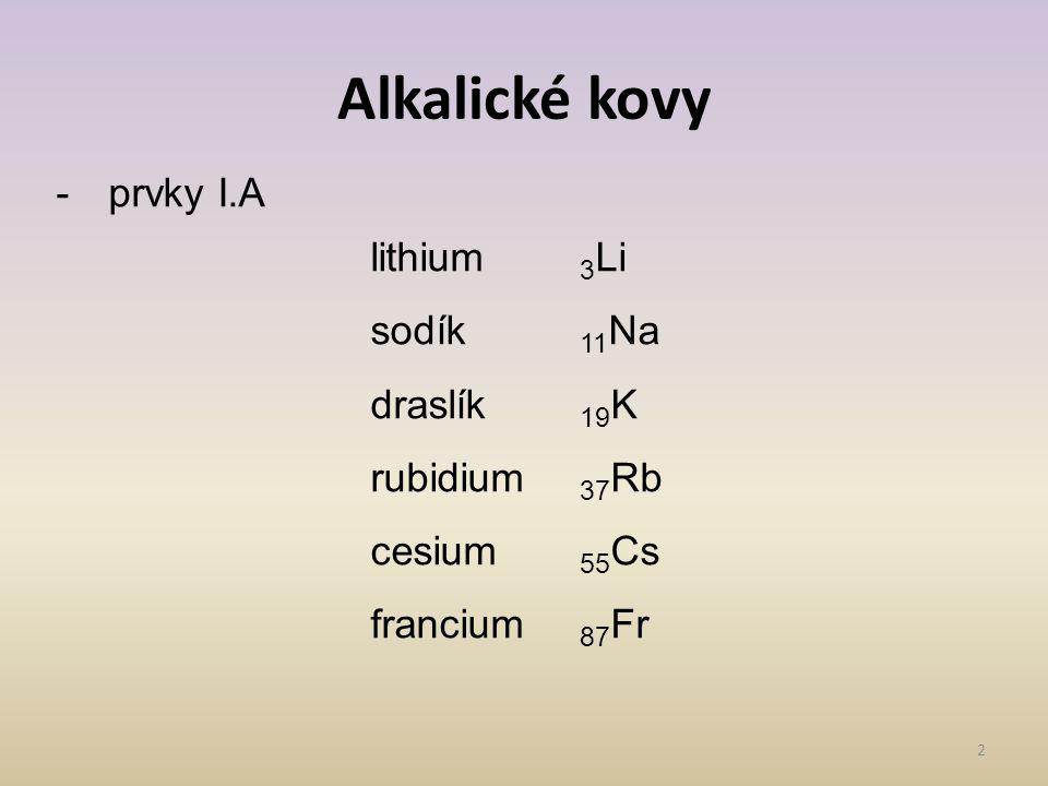 Alkalické kovy 2 -prvky I.A lithium 3 Li sodík 11 Na draslík 19 K rubidium 37 Rb cesium 55 Cs francium 87 Fr