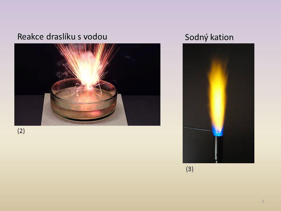 5 (2) (3) Reakce draslíku s vodou Sodný kation