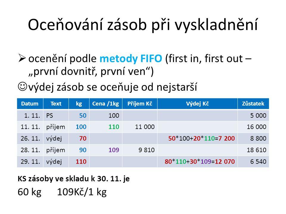 """Oceňování zásob při vyskladnění  ocenění podle metody FIFO (first in, first out – """"první dovnitř, první ven ) výdej zásob se oceňuje od nejstarší KS zásoby ve skladu k 30."""