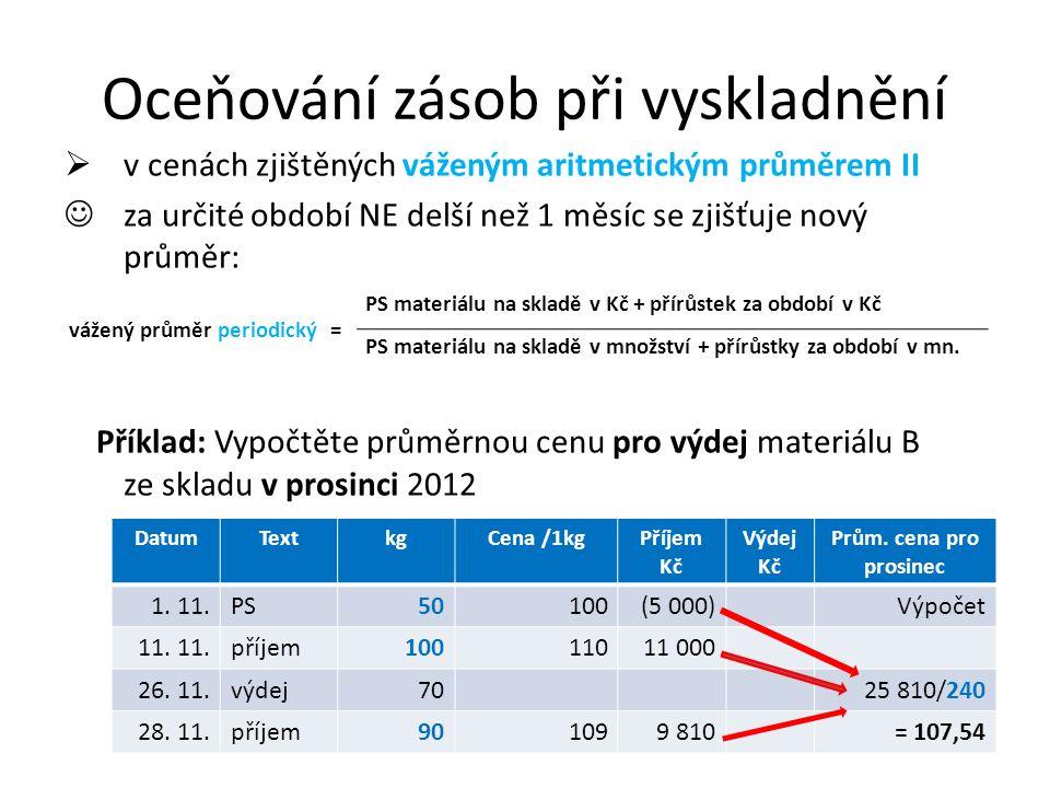 Oceňování zásob při vyskladnění  v cenách zjištěných váženým aritmetickým průměrem II za určité období NE delší než 1 měsíc se zjišťuje nový průměr: Příklad: Vypočtěte průměrnou cenu pro výdej materiálu B ze skladu v prosinci 2012 vážený průměr periodický = PS materiálu na skladě v Kč + přírůstek za období v Kč PS materiálu na skladě v množství + přírůstky za období v mn.