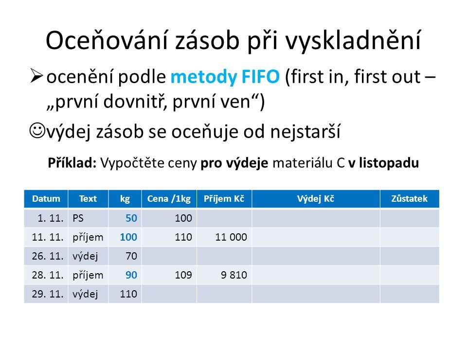 """Oceňování zásob při vyskladnění  ocenění podle metody FIFO (first in, first out – """"první dovnitř, první ven ) výdej zásob se oceňuje od nejstarší Příklad: Vypočtěte ceny pro výdeje materiálu C v listopadu DatumTextkgCena /1kgPříjem KčVýdej KčZůstatek 1."""