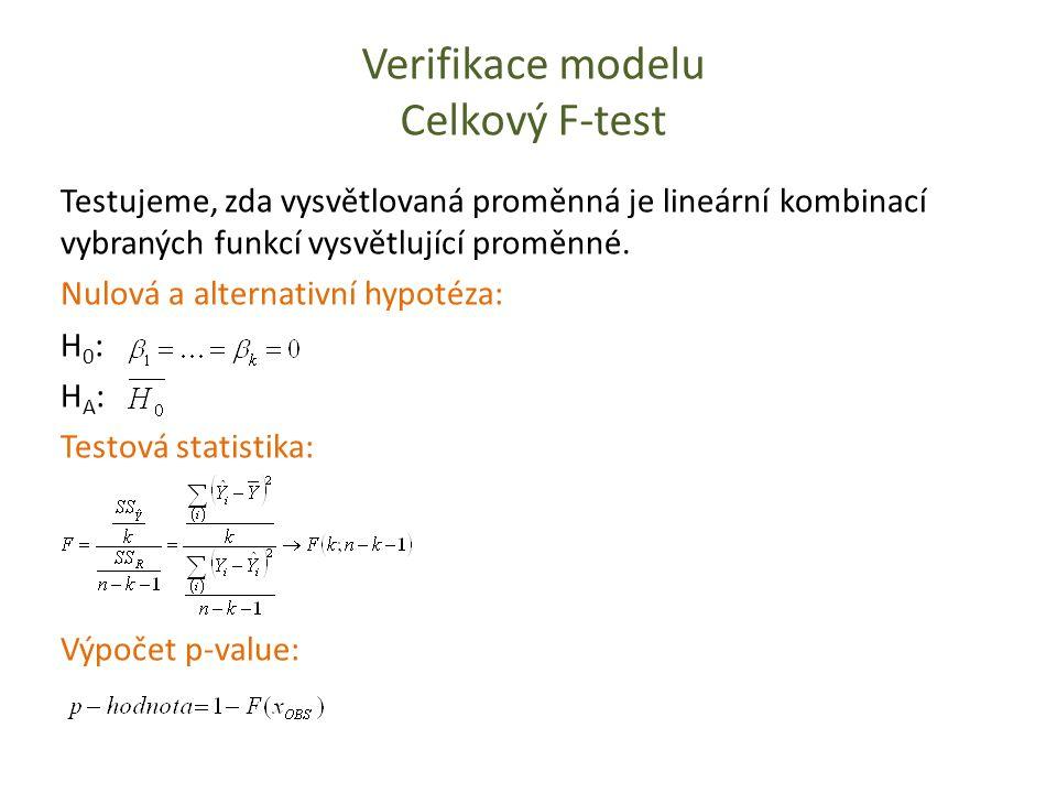 Verifikace modelu Celkový F-test Testujeme, zda vysvětlovaná proměnná je lineární kombinací vybraných funkcí vysvětlující proměnné. Nulová a alternati