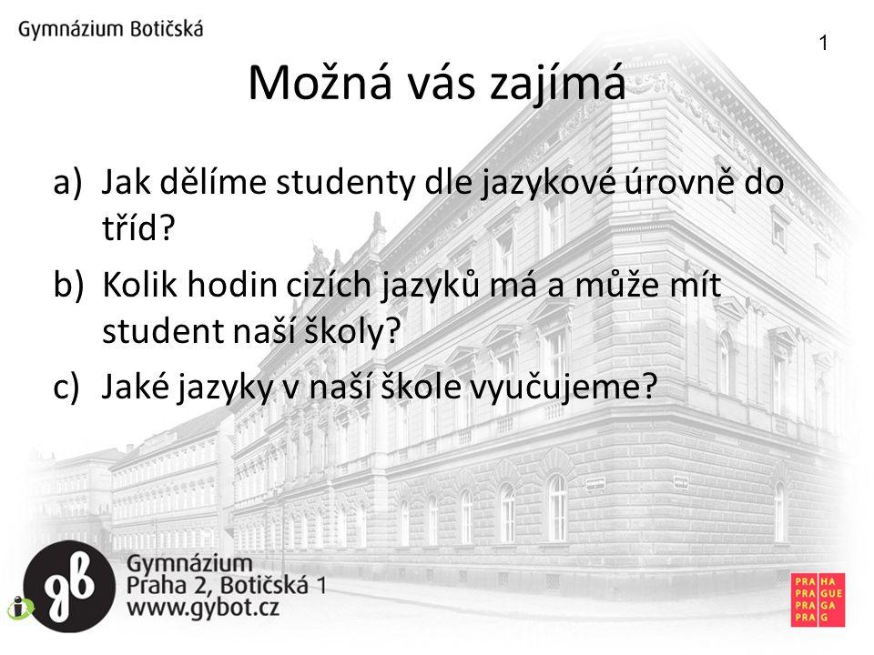 Možná vás zajímá a)Jak dělíme studenty dle jazykové úrovně do tříd.