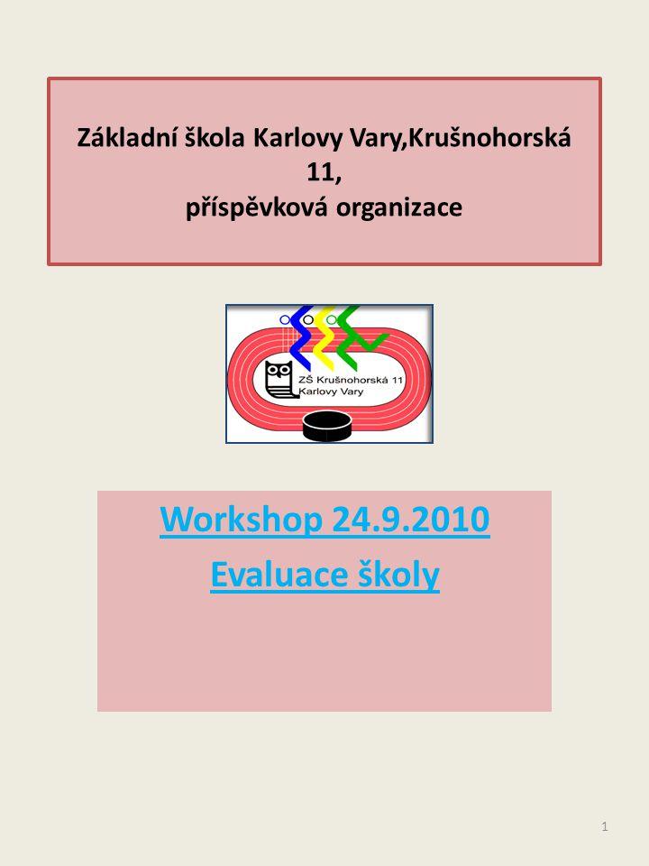 Základní škola Karlovy Vary,Krušnohorská 11, příspěvková organizace Workshop 24.9.2010 Evaluace školy 1