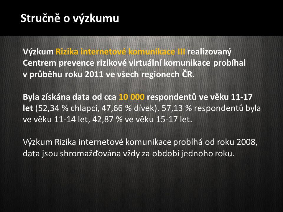 Stručně o výzkumu Výzkum Rizika internetové komunikace III realizovaný Centrem prevence rizikové virtuální komunikace probíhal v průběhu roku 2011 ve