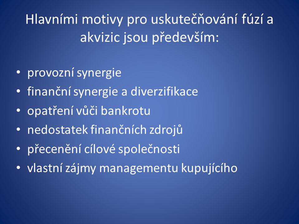 Hlavními motivy pro uskutečňování fúzí a akvizic jsou především: provozní synergie finanční synergie a diverzifikace opatření vůči bankrotu nedostatek