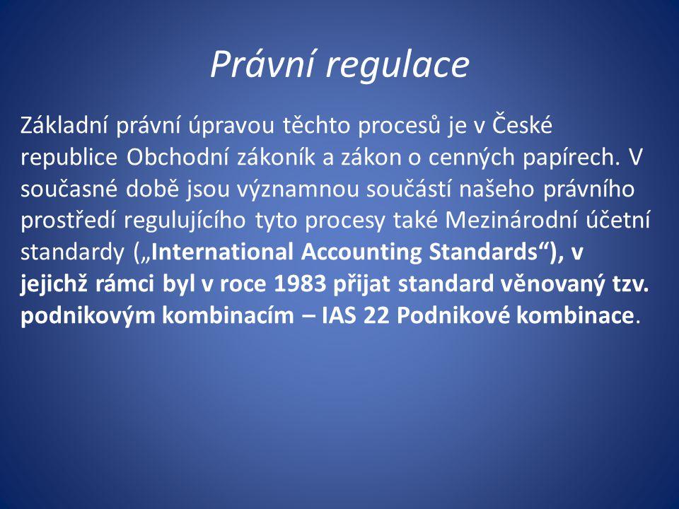 Právní regulace Základní právní úpravou těchto procesů je v České republice Obchodní zákoník a zákon o cenných papírech. V současné době jsou významno