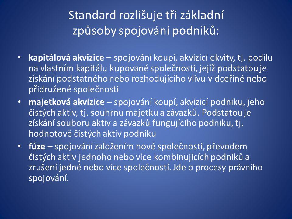 Standard rozlišuje tři základní způsoby spojování podniků: kapitálová akvizice – spojování koupí, akvizicí ekvity, tj. podílu na vlastním kapitálu kup