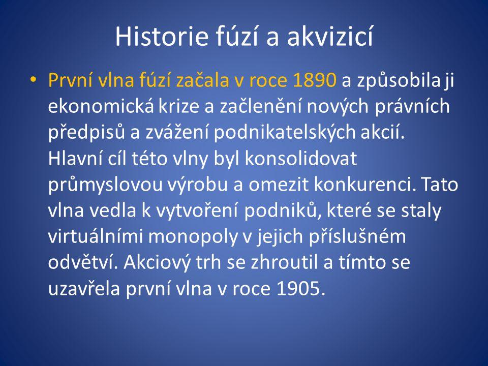 Historie fúzí a akvizicí První vlna fúzí začala v roce 1890 a způsobila ji ekonomická krize a začlenění nových právních předpisů a zvážení podnikatels