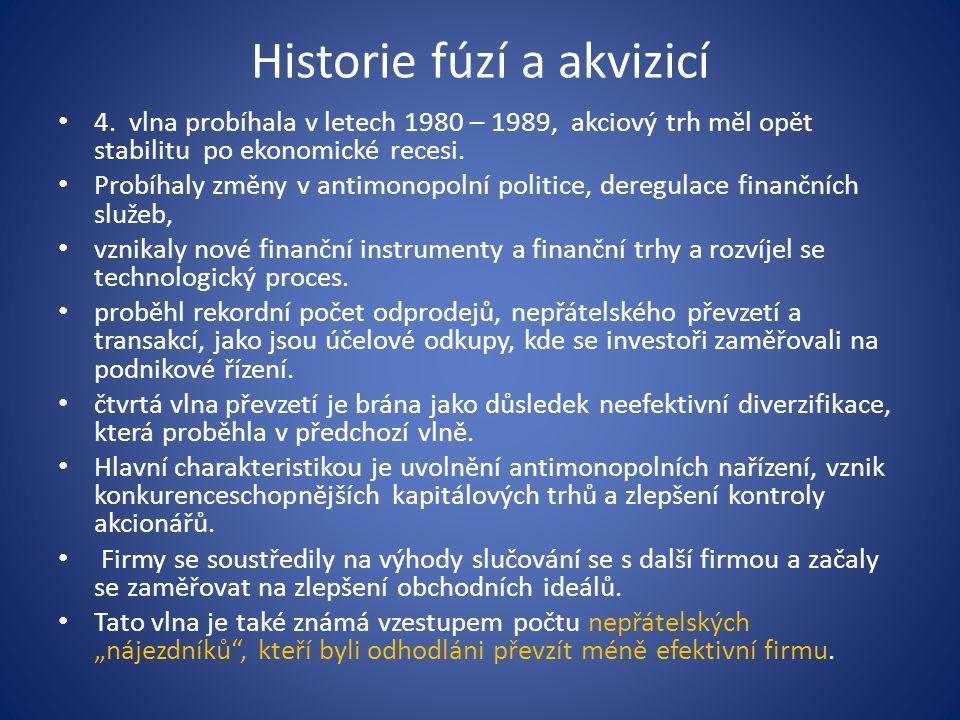 Historie fúzí a akvizicí 4. vlna probíhala v letech 1980 – 1989, akciový trh měl opět stabilitu po ekonomické recesi. Probíhaly změny v antimonopolní