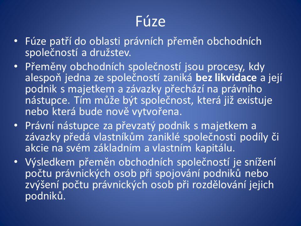 Fúze Fúze patří do oblasti právních přeměn obchodních společností a družstev. Přeměny obchodních společností jsou procesy, kdy alespoň jedna ze společ