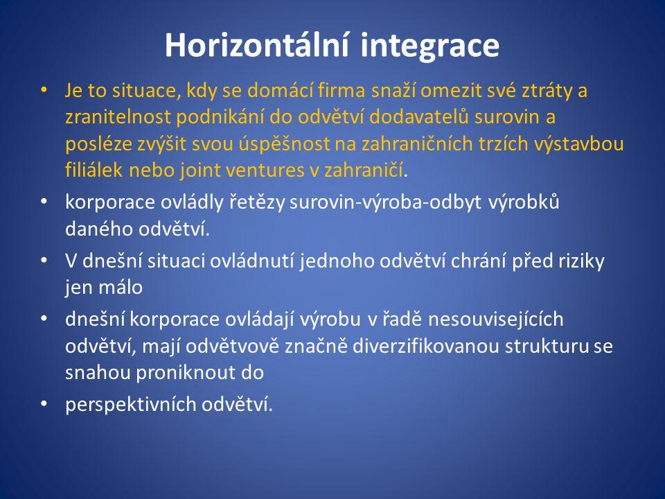 Horizontální integrace Je to situace, kdy se domácí firma snaží omezit své ztráty a zranitelnost podnikání do odvětví dodavatelů surovin a posléze zvý