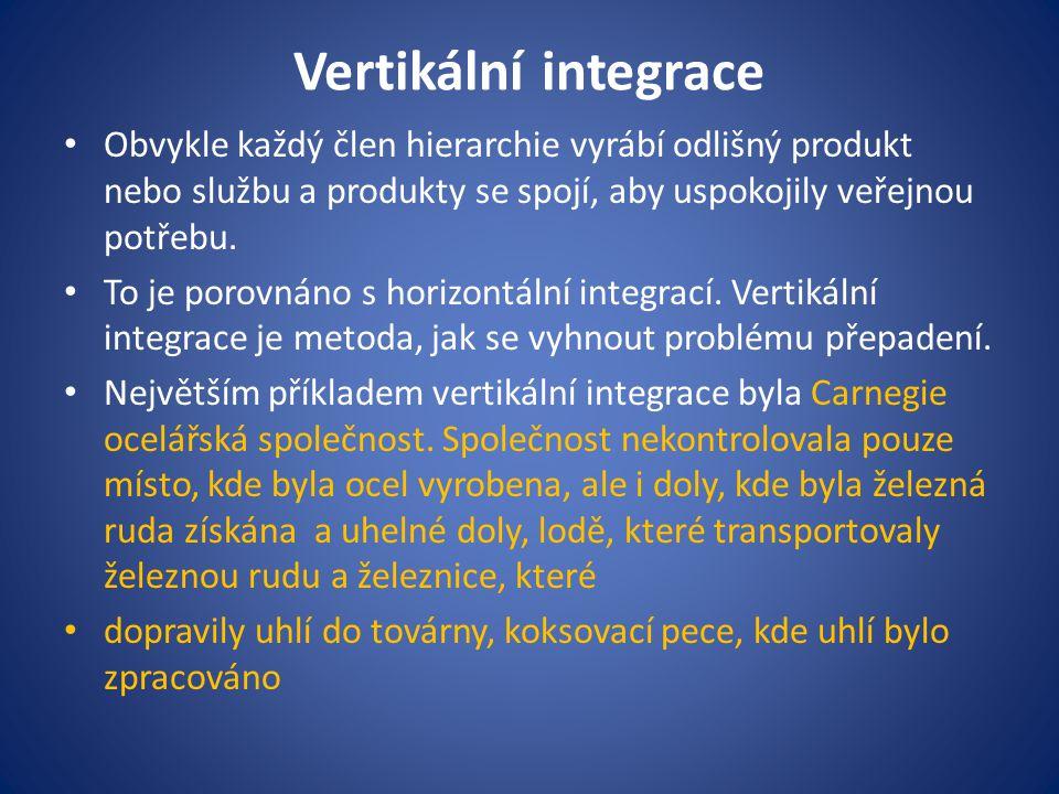 Vertikální integrace Obvykle každý člen hierarchie vyrábí odlišný produkt nebo službu a produkty se spojí, aby uspokojily veřejnou potřebu. To je poro