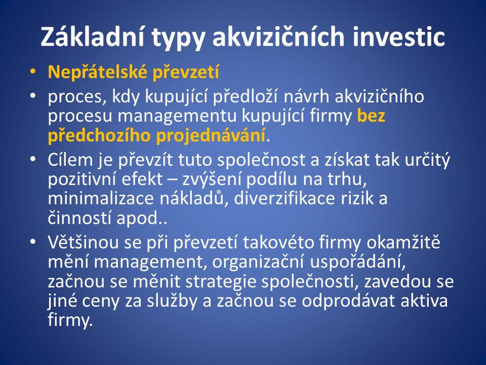 Základní typy akvizičních investic Nepřátelské převzetí proces, kdy kupující předloží návrh akvizičního procesu managementu kupující firmy bez předcho