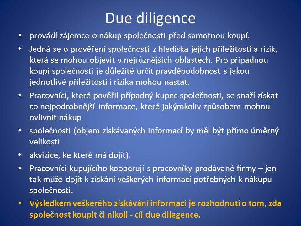 Due diligence provádí zájemce o nákup společnosti před samotnou koupí. Jedná se o prověření společnosti z hlediska jejich příležitostí a rizik, která