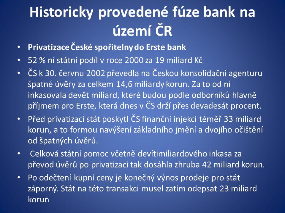 Historicky provedené fúze bank na území ČR Privatizace České spořitelny do Erste bank 52 % ní státní podíl v roce 2000 za 19 miliard Kč ČS k 30. červn