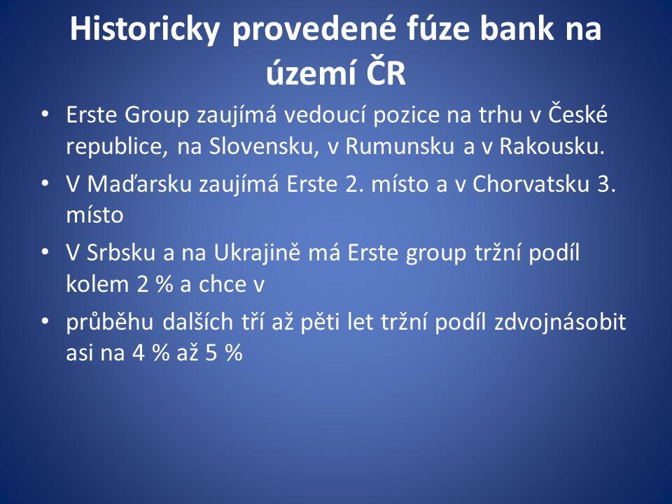 Historicky provedené fúze bank na území ČR Erste Group zaujímá vedoucí pozice na trhu v České republice, na Slovensku, v Rumunsku a v Rakousku. V Maďa