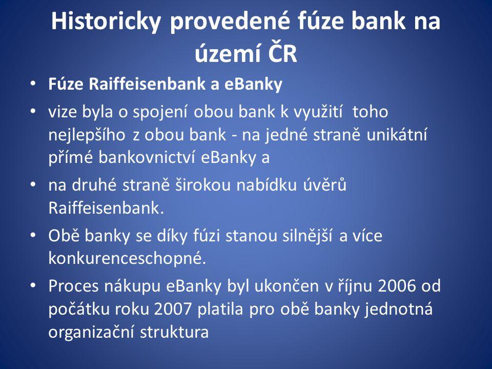 Historicky provedené fúze bank na území ČR Fúze Raiffeisenbank a eBanky vize byla o spojení obou bank k využití toho nejlepšího z obou bank - na jedné