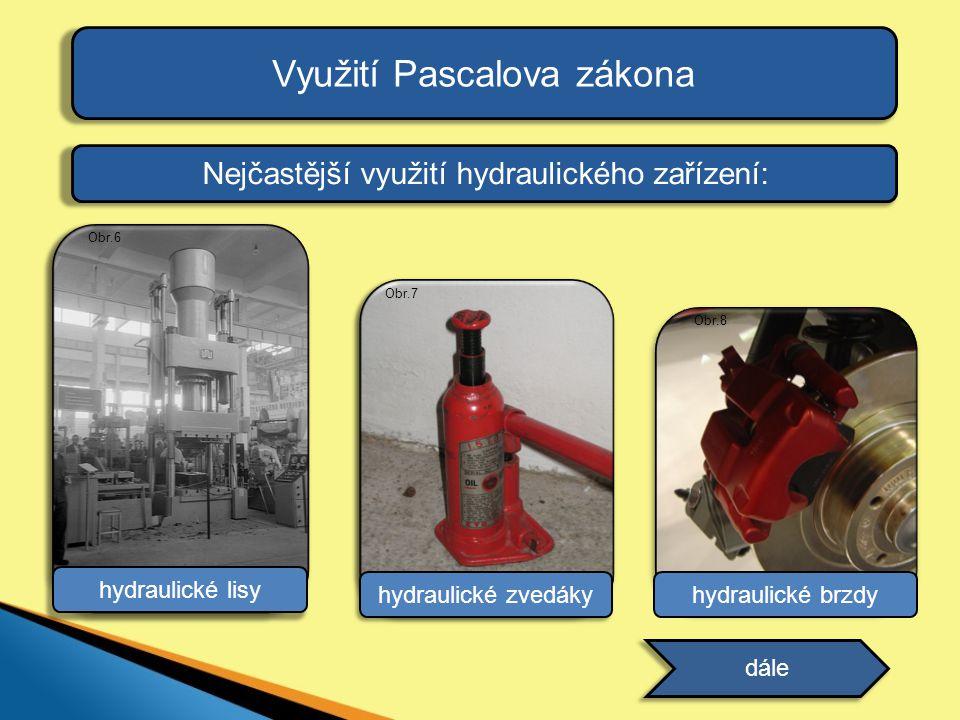 Využití Pascalova zákona Nejčastější využití hydraulického zařízení: dále hydraulické brzdy Obr.8