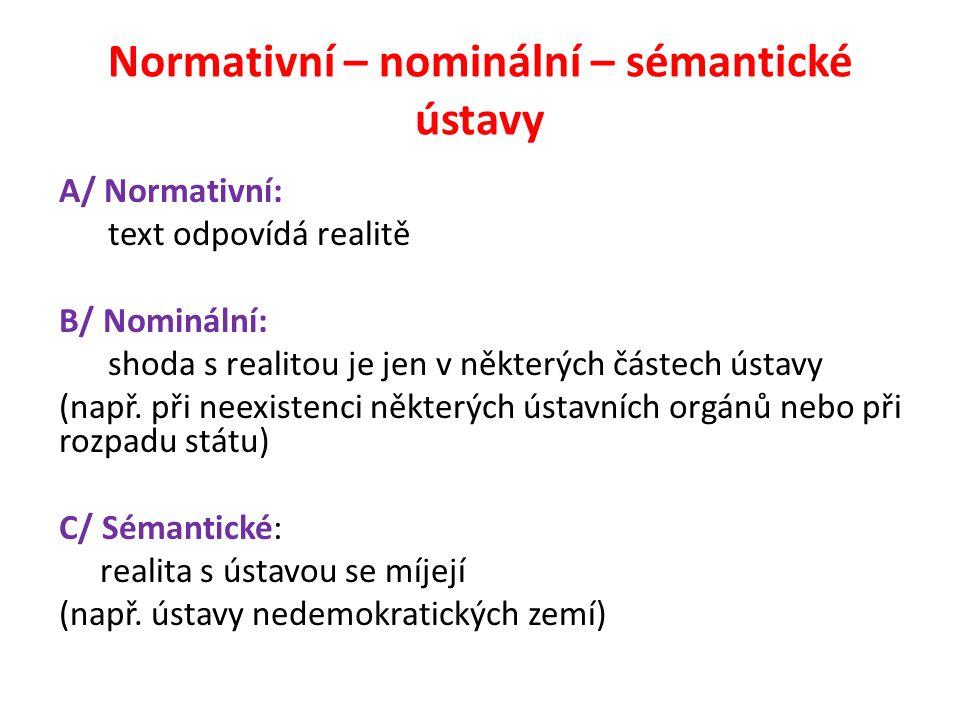 Normativní – nominální – sémantické ústavy A/ Normativní: text odpovídá realitě B/ Nominální: shoda s realitou je jen v některých částech ústavy (např.