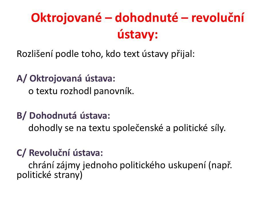 Oktrojované – dohodnuté – revoluční ústavy: Rozlišení podle toho, kdo text ústavy přijal: A/ Oktrojovaná ústava: o textu rozhodl panovník.