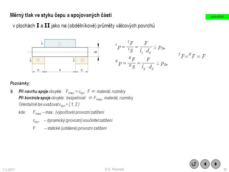 10 Měrný tlak ve styku čepu a spojovaných částí v plochách I a II jako na (obdélníkové) průměty válcových povrchů Poznámky:  Při návrhu spoje obvykle : F (max) = c dyn · F  materiál, rozměry Při kontrole spoje obvykle: bezpečnost  F (max), materiál, rozměry Orientačně lze uvažovat c dyn = { 1, 2 } kde: F (max) – max..