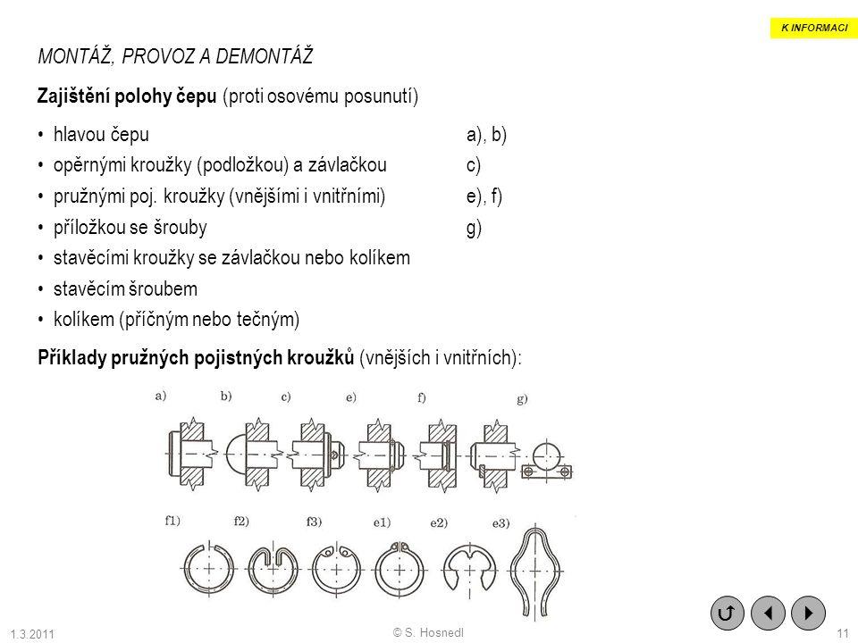 © S. Hosnedl MONTÁŽ, PROVOZ A DEMONTÁŽ Zajištění polohy čepu (proti osovému posunutí) hlavou čepua), b) opěrnými kroužky (podložkou) a závlačkou c) pr