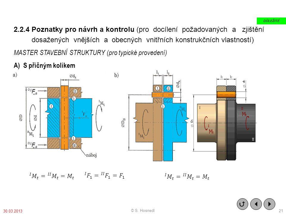 2.2.4 Poznatky pro návrh a kontrolu (pro docílení požadovaných a zjištění dosažených vnějších a obecných vnitřních konstrukčních vlastností) MASTER STAVEBNÍ STRUKTURY (pro typické provedení) A) S příčným kolíkem o II F a    DŮLEŽITÉ © S.