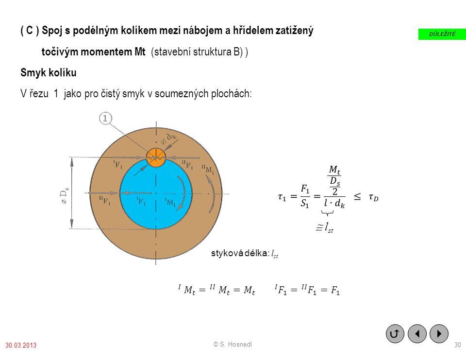 ( C ) Spoj s podélným kolíkem mezi nábojem a hřídelem zatížený točivým momentem Mt (stavební struktura B) ) Smyk kolíku V řezu 1 jako pro čistý smyk v soumezných plochách: styková délka: l st    DŮLEŽITÉ © S.