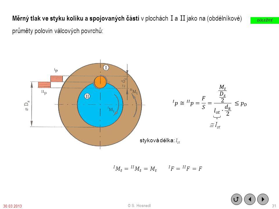 Měrný tlak ve styku kolíku a spojovaných částí v plochách I a II jako na (obdélníkové) průměty polovin válcových povrchů: styková délka: l st    DŮ