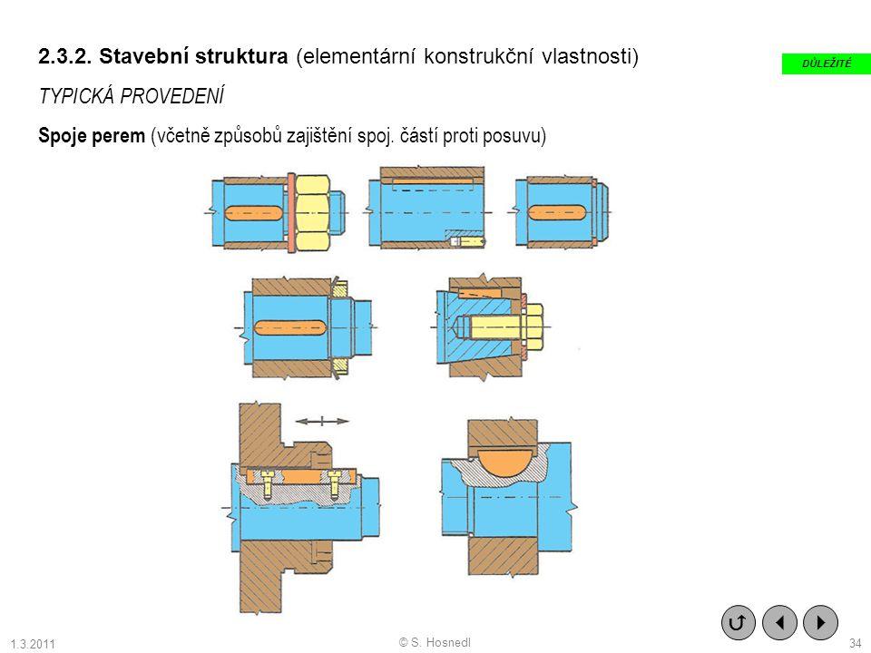 2.3.2. Stavební struktura (elementární konstrukční vlastnosti) TYPICKÁ PROVEDENÍ Spoje perem (včetně způsobů zajištění spoj. částí proti posuvu)   