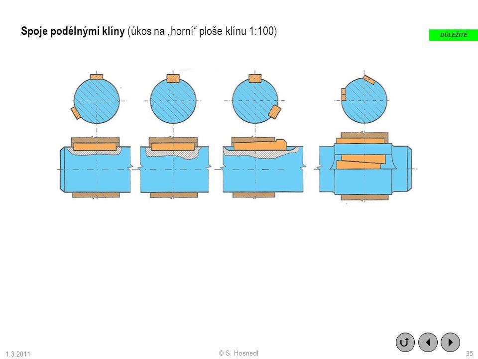 """Spoje podélnými klíny (úkos na """"horní ploše klínu 1:100)    DŮLEŽITÉ © S. Hosnedl 35 1.3.2011"""