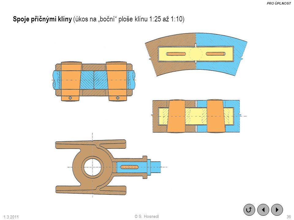"""Spoje příčnými klíny (úkos na """"boční ploše klínu 1:25 až 1:10)    PRO ÚPLNOST © S."""