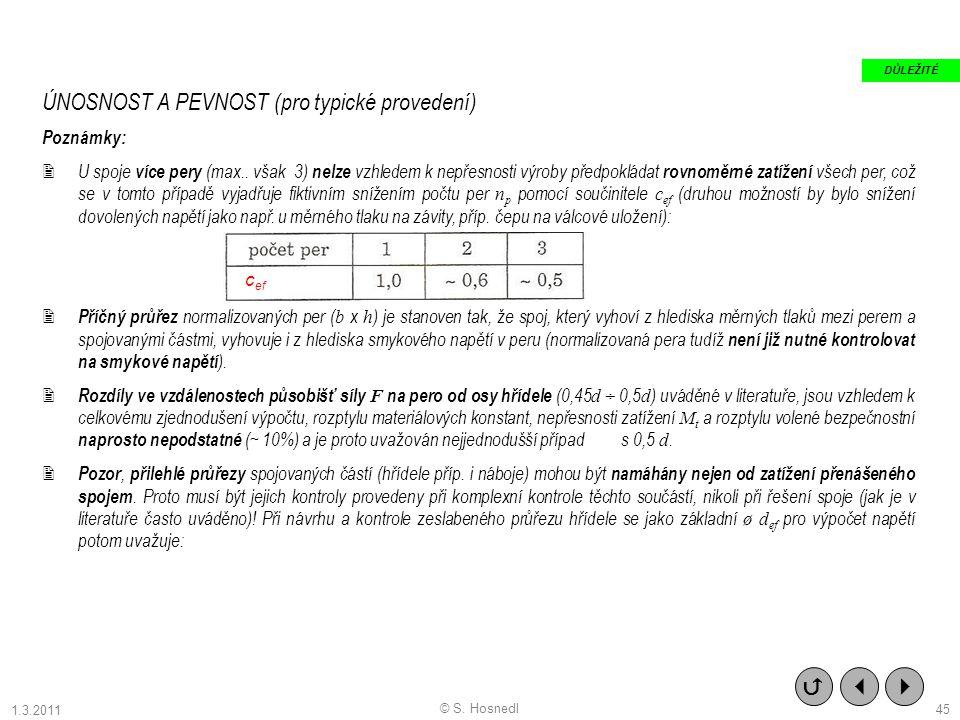 ÚNOSNOST A PEVNOST (pro typické provedení) Poznámky:  U spoje více pery (max.. však 3) nelze vzhledem k nepřesnosti výroby předpokládat rovnoměrné za
