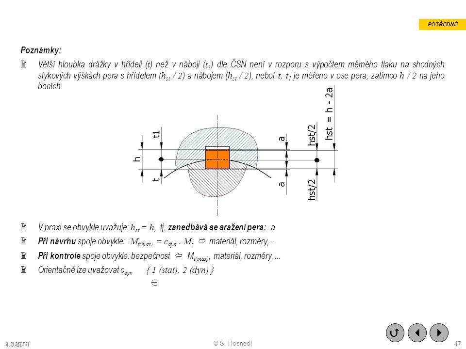 Poznámky:  Větší hloubka drážky v hřídeli ( t ) než v náboji ( t 1 ) dle ČSN není v rozporu s výpočtem měrného tlaku na shodných stykových výškách pera s hřídelem ( h st / 2 ) a nábojem ( h st / 2 ), neboť t, t 1 je měřeno v ose pera, zatímco h / 2 na jeho bocích.