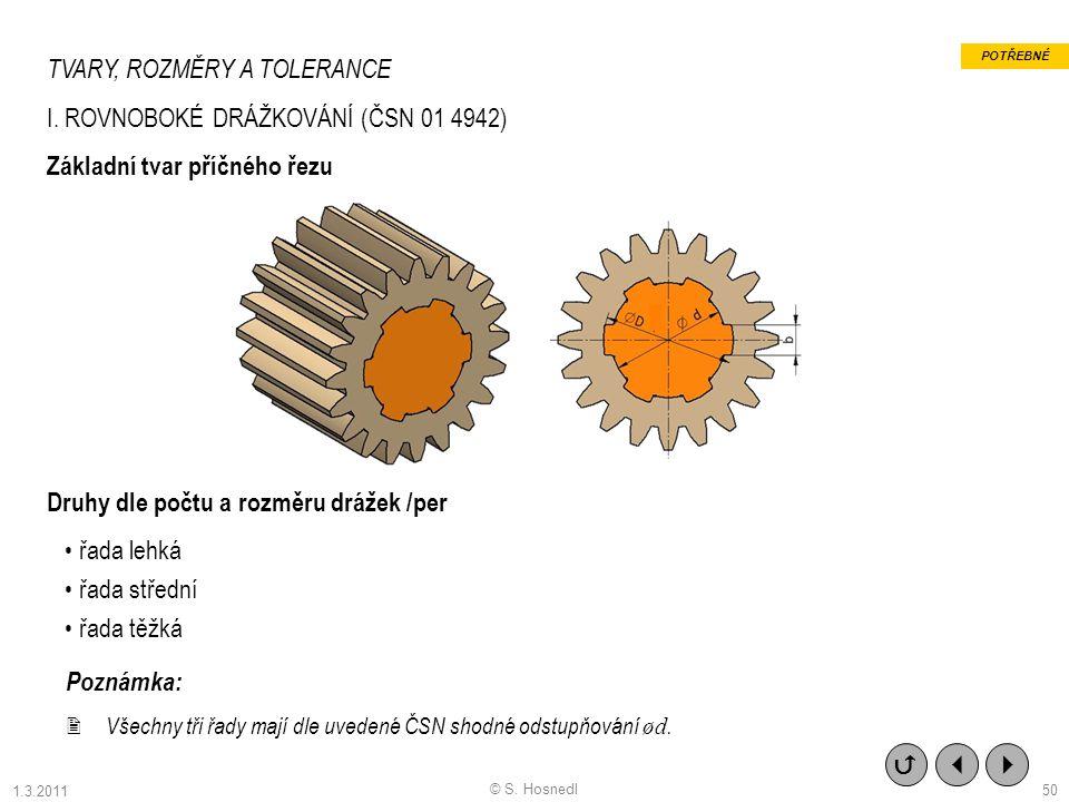 TVARY, ROZMĚRY A TOLERANCE I. ROVNOBOKÉ DRÁŽKOVÁNÍ (ČSN 01 4942) Základní tvar příčného řezu Druhy dle počtu a rozměru drážek /per řada lehká řada stř